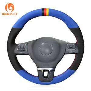 Black Blue Soft Suede Steering Wheel Cover For Vw Gol Tiguan Passat B7 Cc Mk6