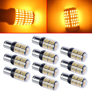 10x 12v 1156 5630 3014 P21w Led Yellow Amber Turn Signal Brake Tail Light Bulbs