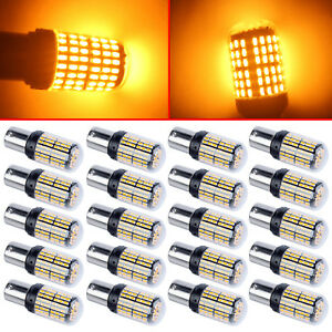 20x Amber 144smd 3014 1156 P21w 7507 1156a Ba15s Led Bulbs For Turn Signal Light