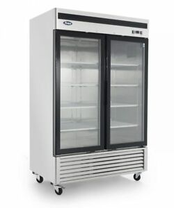New 2 Two Door Glass Freezer Led Lighting 47cu 8 Shleves Casters Energy Star