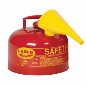 2 1 2 Gallon Safety Gas Can Eagle Ui 25 fs Type I Red Galvanized Funnel