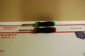 Snap On Tools Red Green Ratcheting Soft Handle Screwdrivers Lot Set
