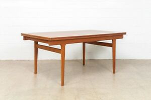 Danish Modern Dining Table Mid Century Henning Kjaernulf Extendable Teak Table