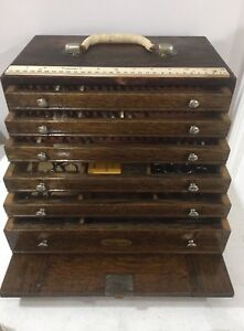 Oak 6 Drawer Dental Carrying Case By H Gerstner Sons With 100s Instruments