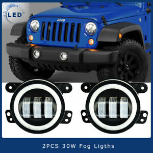 Clear 4inch Round Led Fog Lights Front Bumper For 94 01 Dodge Ram 1500 2500 3500