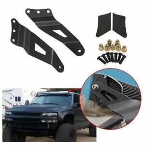 50 Led Curved Light Bar Upper Windshield Mount Brackets For 99 06 Gmc Chevy
