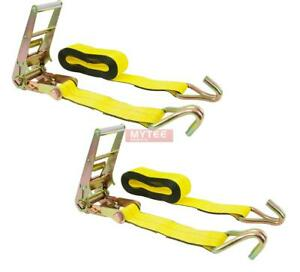 3 X 30 Ratchet Tie Down Straps W Flat Hook 15 000 Lbs Capacity Yellow 2 Pa
