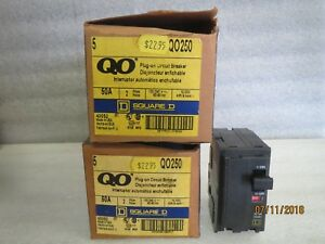 Square d qo250 2 pole 50 amp 120 240v plug in circuit Breakers new Box Of 5