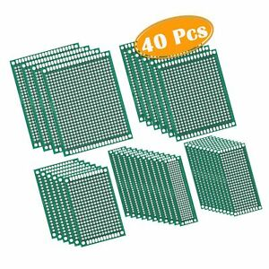 Paxcoo 40pcs Double Sided Pcb Board Prototype Kit For Diy Soldering And Elect