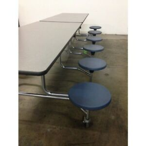 6 Available Folding Lunchroom Cafeteria Table Grey Top W 12 Blue Stools 10 Ft