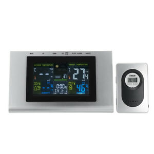 Lcd Weather Station Temperature Clock Digital Thermometer Humidity With Sensor