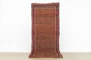 Antique Rug Kurd Wool Runner Area Floor Rug Red Pink Tribal 5 11 X 11 10