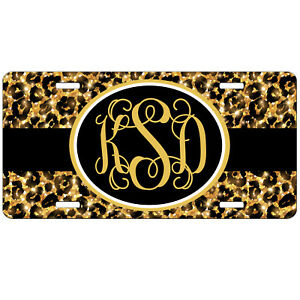 License Plate Personalized Glitter Cheetah Car Tag Monogrammed Vanity Plate 9375