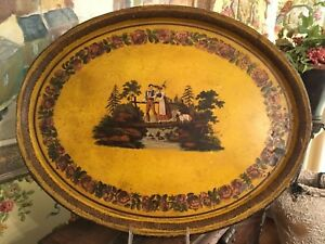 Antique Tole Tray Hand Painted Toleware Late 1700s South Of France Oval