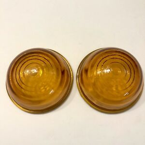 Lot 2 Amber Glass Lens Clearance Side Marker Doray Lamp Company Chicago