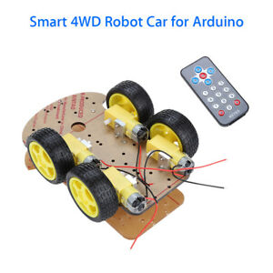4wd Smart Car Robot Chassis W 4pcs Gear Motor 4pcs Tire Wheel For Arduino Diy