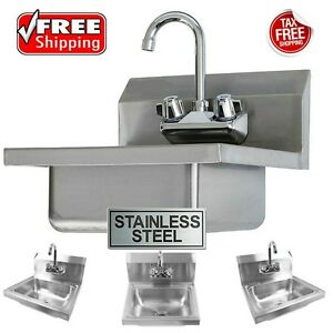 Commercial Wall Mount Hand Washing Sink Stainless Steel Utility Sinks W Faucet