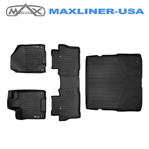 Smartliner Floor Mats 2 Rows Cargo Liner Set Black For Honda Pilot 2016 2019