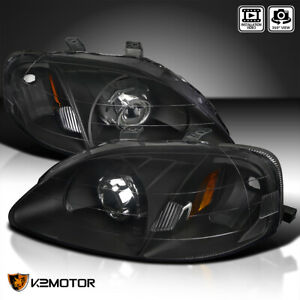 For 99 00 Honda Civic Jdm Black Retrofit Style Projector Headlights Left Right