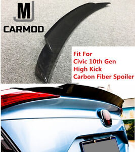 High Kick Carbon Fiber Trunk Spoiler Fit For Honda Civic 10th Gen Sedan 2017