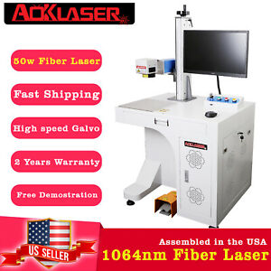 Us Seller New Deluxe 50w Fiber Laser Marking Machine Laser Engraver All In One