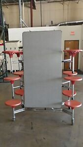 8 Available Folding Lunchroom Cafeteria Table Gray Top W 12 Red Stools 10ft