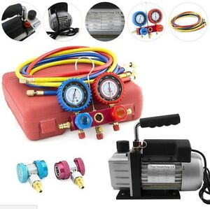 Air Conditioning Vacuum Pump Combo Kit Hvac Refrigeration Ac R134a Gauges 3cfm