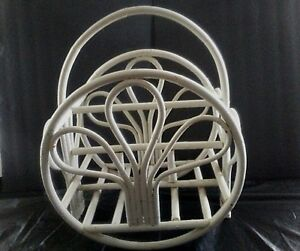 Vtg Mid Century Modern L White Bentwood Magazine Stand Rattan Bamboo 2 Sections
