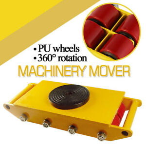 Heavy Duty Machinery Roller Mover Cargo Trolley 360 Rotation 12 ton 8 rollers
