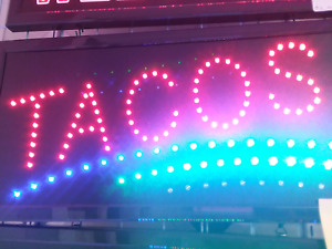 Tacos Neon Led Sign store Sign business Sign restaurant Grill window smoke Shop