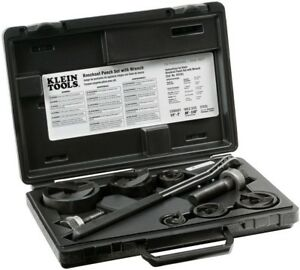 Klein Tools Knockout Punch Wrench Set Cut Electrical Panel Holes 9 piece
