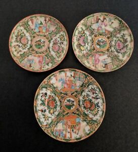 Antique Chinese Export Porcelain Rose Medallion Plates Group Of Three