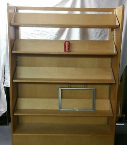2 Sided Wood Wooden Retail Bookstore Removeable Display Shelves