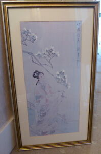 2 Beautiful Geisha Japanese Ladies Artist Drawings On Silk Signed