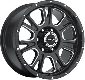 18 Inch Black N Milled Sierra Rims 0mm 8 Lug 8x165 1 8x6 5 Set Of 4 Wheels