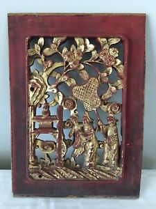 Antique Chinese Panel Carved Relief Gilt Wood Red Lacquer Figures