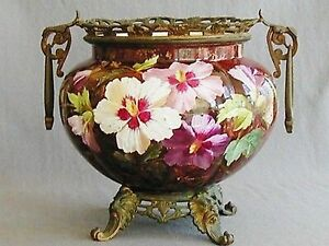 19th C Bronze Mounted French Porcelain Jardiniere Houry Signed G Lemonnier