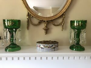 Vintage Pair Emerald Green Glass Crystal Lusters Lustres