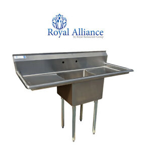 Stainless Steel 1 Compartment Sink 54 X 23 With 2 Drainboards Nsf Certified