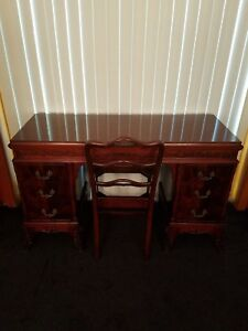 Antique Hand Carved Mahogany Pedestal Writing Desk Vanity Chair Ornate Intricate