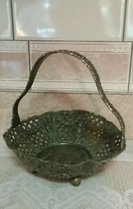 Antique Silver Plated Brides Basket Derby Silver Co Embossed Victorian Scene