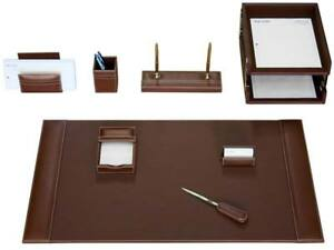 D3220 rustic brown leather 10 piece desk set