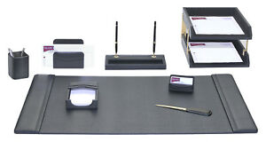 D1020 black leather 10 piece desk set
