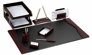 D7020 burgundy contemporary leather 10 piece desk set