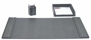 D1037 black leather 3 piece desk set