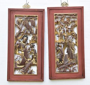 Pair Of Antique Chinese Red Gilt Wooden Carved Panel