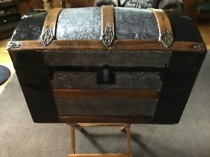 Antique Steamer Trunk Metal Floral Design Restored