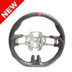 Handkraftd 15 17 Ford Mustang Steering Wheel Real Carbon Fiber W Red Stitch