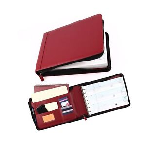 7 Ring Business Check Book Binder 3 on a page Zipper Leather Look Vinyl Burgundy