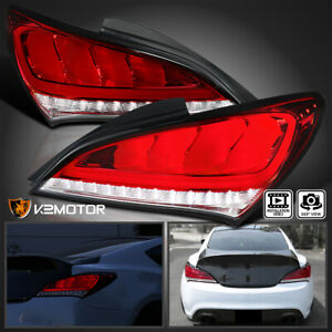 Fits 2010 2015 Hyundai Genesis Coupe 2dr Red Led Sequential Brake Tail Lights